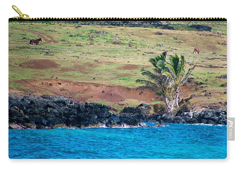 Easter Island Carry-all Pouch featuring the photograph Anakena Horses by Kent Nancollas