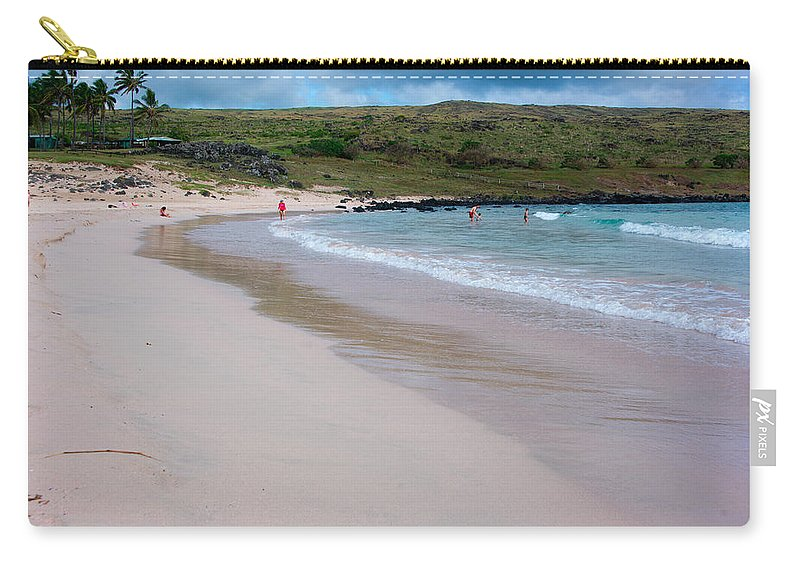 Easter Island Carry-all Pouch featuring the photograph Anakena Sand by Kent Nancollas