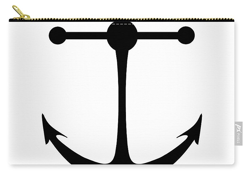 Graphic Art Carry-all Pouch featuring the digital art Anchor In Black And White by Jackie Farnsworth