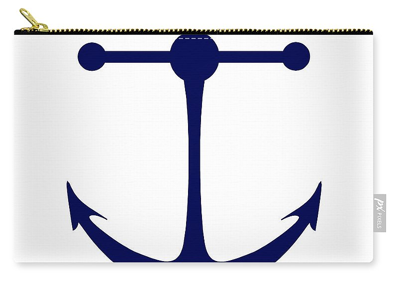 Graphic Art Carry-all Pouch featuring the digital art Anchor In Navy And White by Jackie Farnsworth