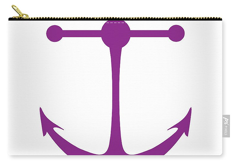 Graphic Art Carry-all Pouch featuring the digital art Anchor In Purple And White by Jackie Farnsworth