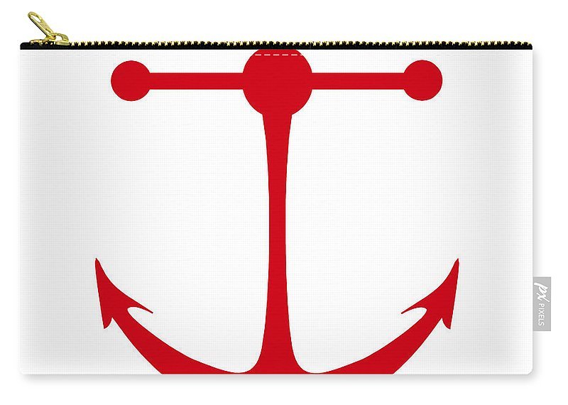 Graphic Art Carry-all Pouch featuring the digital art Anchor In Red And White by Jackie Farnsworth