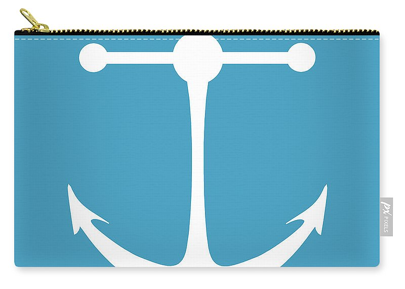 Graphic Art Carry-all Pouch featuring the digital art Anchor In White And Turquoise Blue by Jackie Farnsworth