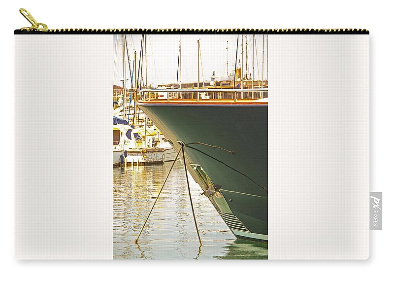 Docked Yacht Carry-all Pouch featuring the photograph Anchored Yacht In Antibes Harbor by Ben and Raisa Gertsberg