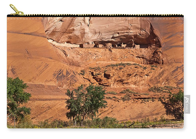 Arizona Carry-all Pouch featuring the photograph Ancient Anasazi Pueblo Canyon Dechelly by Bob and Nadine Johnston