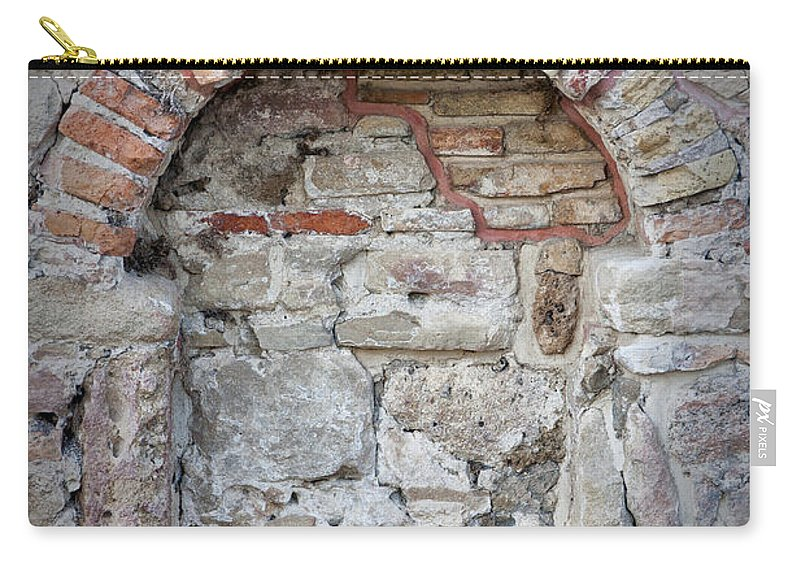 Wall Carry-all Pouch featuring the photograph Ancient Bricked Up Window by Antony McAulay