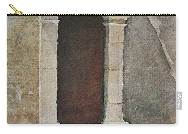 Antique Doorway Carry-all Pouch featuring the painting Ancient Doorway by Mary Ellen Mueller Legault