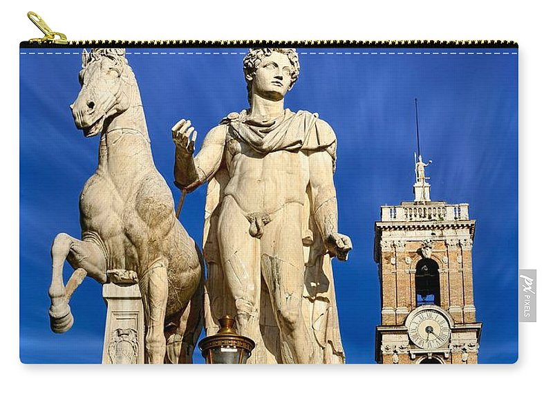 Castor Carry-all Pouch featuring the photograph Ancient Marble Sculpture Of Castor At The Cordonata Stairs by Stefano Senise