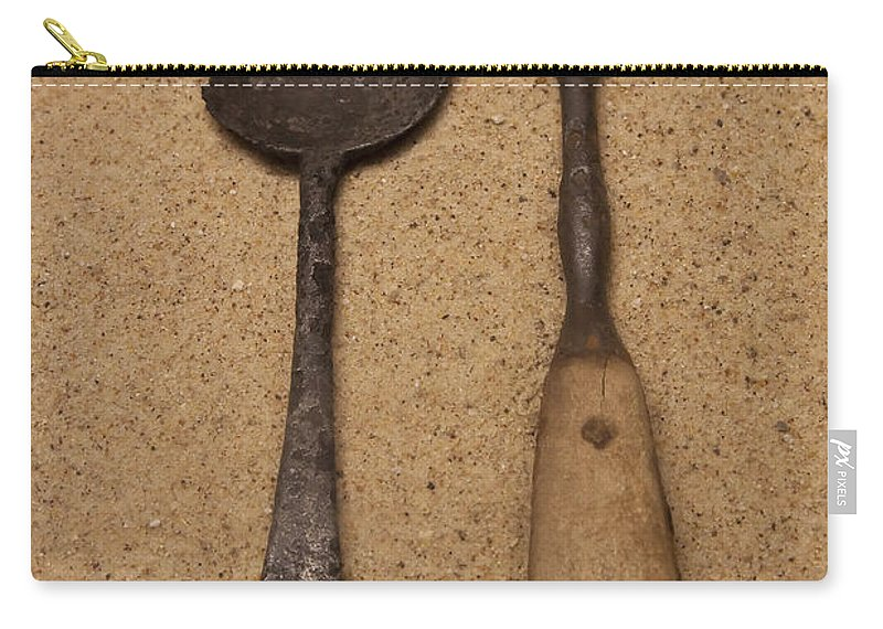 Ancient Carry-all Pouch featuring the photograph Ancient Spoon And Fork by John Brueske