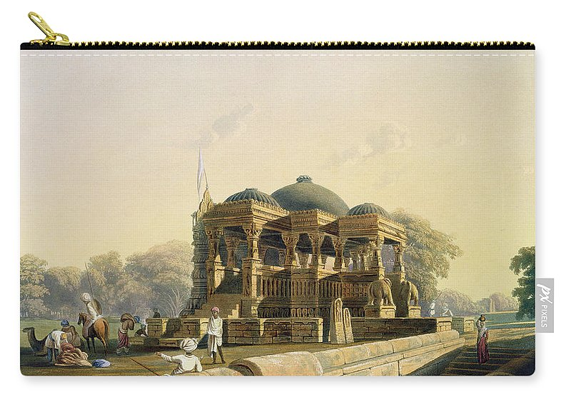 Landscape Carry-all Pouch featuring the drawing Ancient Temple At Hulwud, From Volume I by Captain Robert M. Grindlay