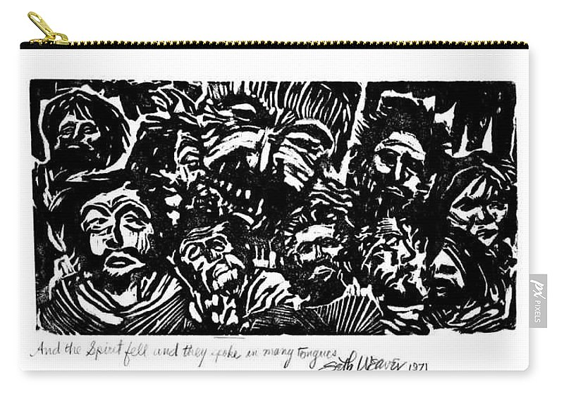 And The Spirit Fell Carry-all Pouch featuring the relief And The Spirit Fell by Seth Weaver
