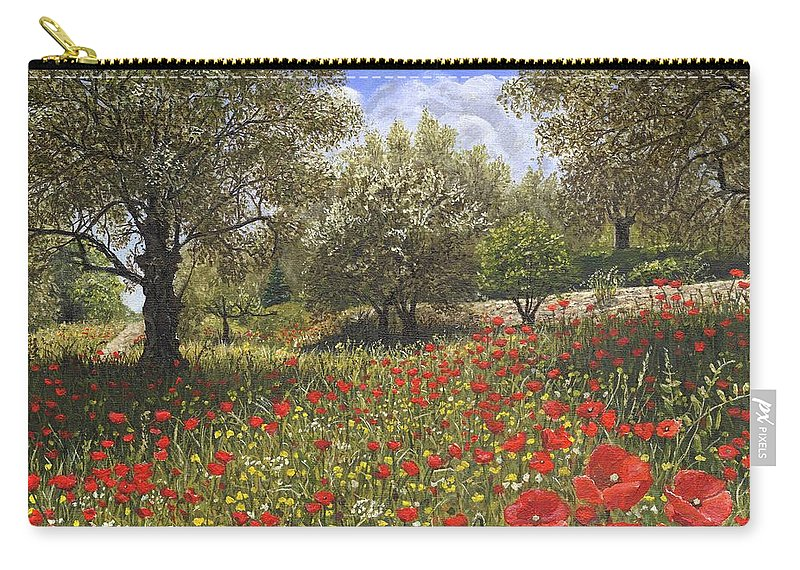 Landscape Carry-all Pouch featuring the painting Andalucian Poppies by Richard Harpum