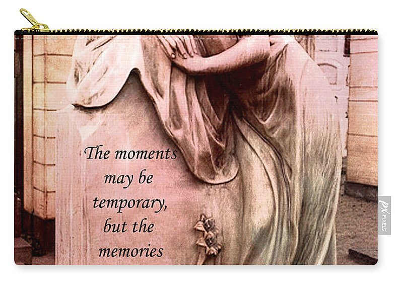 Angel Carry-all Pouch featuring the photograph Angel Art - Memorial Angel Weeping Sorrow At Grave With Inspirational Message - Memories Are Forever by Kathy Fornal