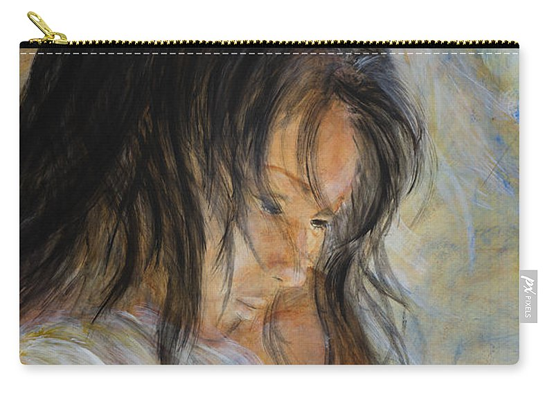 Angel Face Carry-all Pouch featuring the painting Angel Face by Nik Helbig