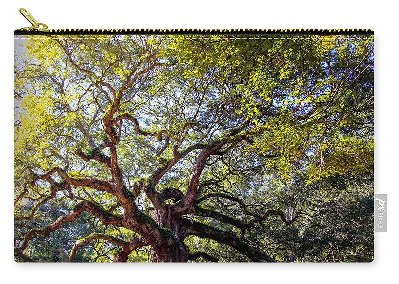 Angel Oak Tree Carry-all Pouch featuring the photograph Angel Of Time by Karen Wiles