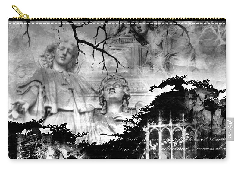 Angels Carry-all Pouch featuring the digital art Angels In Gothica Bw by Michael Damiani