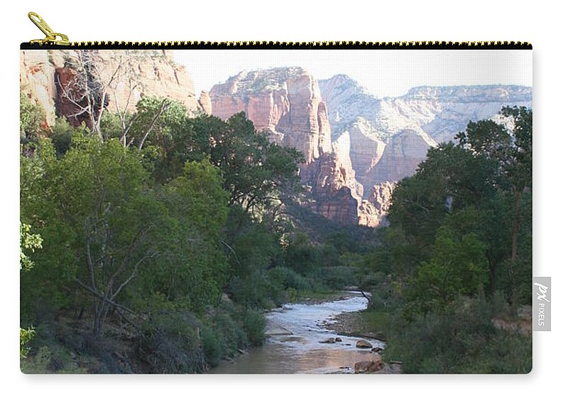 Virgin River Carry-all Pouch featuring the photograph Angels Landing - Virgin River - Zion Np by Christiane Schulze Art And Photography