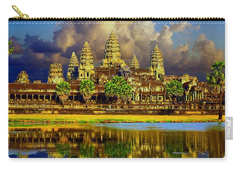 Angkor Wat World Heritage Park Carry-all Pouch featuring the photograph Angkor Wat Just Before Sunset by Leslie Ware
