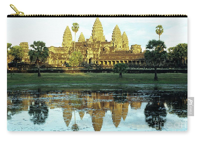 Angkor Carry-all Pouch featuring the photograph Angkor Wat Reflections 01 by Rick Piper Photography