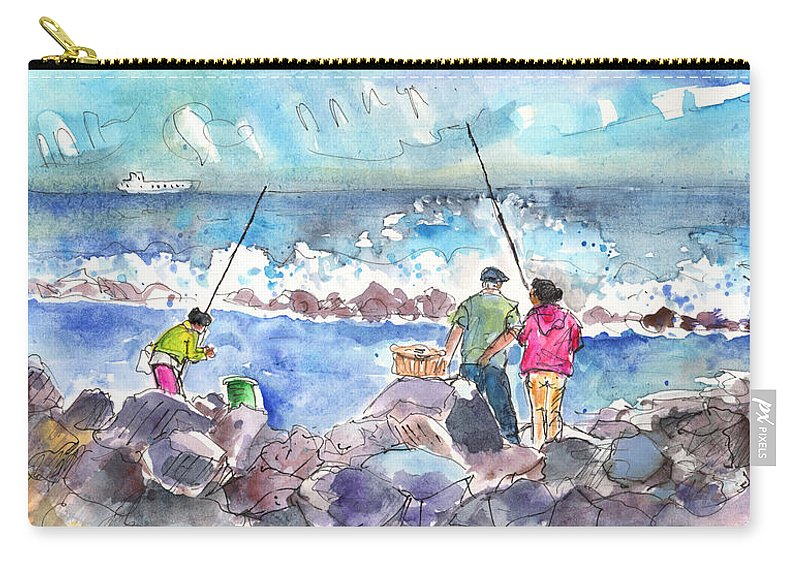 Travel Carry-all Pouch featuring the painting Angling In Gran Canaria by Miki De Goodaboom