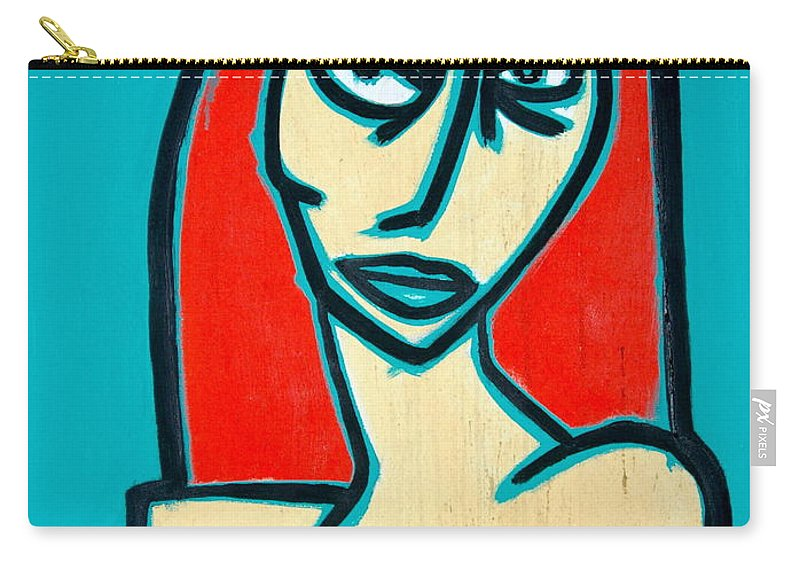 Oil Carry-all Pouch featuring the painting Angry Jen by Thomas Valentine