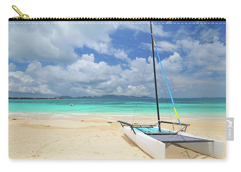 Sailboat Carry-all Pouch featuring the photograph Anguilla Beach by Maxian