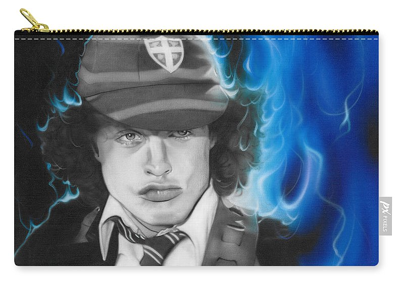 Angus Young Carry-all Pouch featuring the painting Angus by Christian Chapman Art