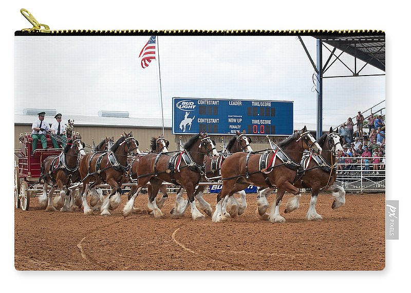 Eight Carry-all Pouch featuring the photograph Anheuser Busch Clydesdales Pulling A Beer Wagon Usa Rodeo by Sally Rockefeller