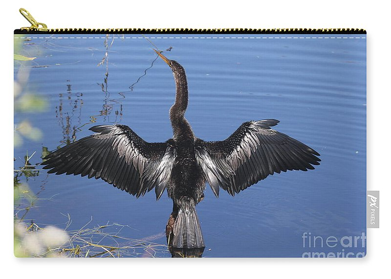 Anhinga Carry-all Pouch featuring the photograph Anhinga Sunbathing by Christiane Schulze Art And Photography