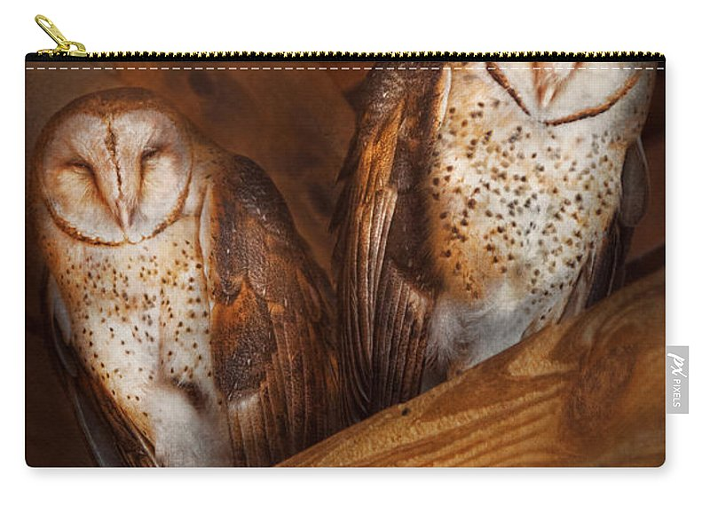 Savad Carry-all Pouch featuring the photograph Animal - Bird - A Couple Of Barn Owls by Mike Savad
