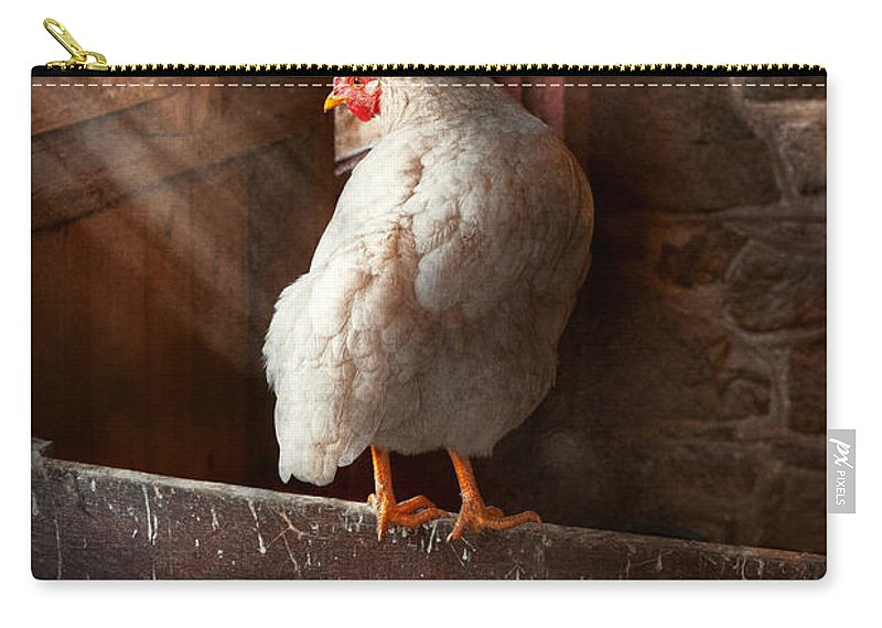 Farmer Carry-all Pouch featuring the photograph Animal - Chicken - Lost In Thought by Mike Savad