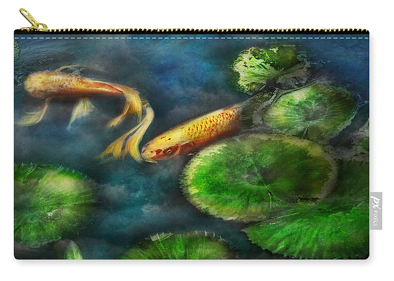 Savad Carry-all Pouch featuring the photograph Animal - Fish - The Shy Fish by Mike Savad