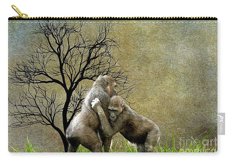 Animal - Gorillas - Isn't Love Grand Carry-all Pouch featuring the digital art Animal - Gorillas - Isn't Love Grand by Liane Wright