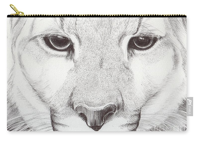 Mountain Lion Carry-all Pouch featuring the drawing Animal Kingdom Series - Mountain Lion by Bobbie S Richardson