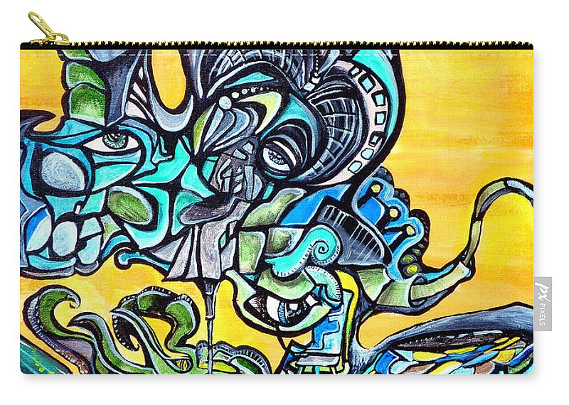 Neon Carry-all Pouch featuring the painting Animatronic Sunrise by Larry Calabrese