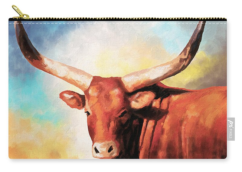 Brown Carry-all Pouch featuring the painting Ankole Bull by Anthony Mwangi