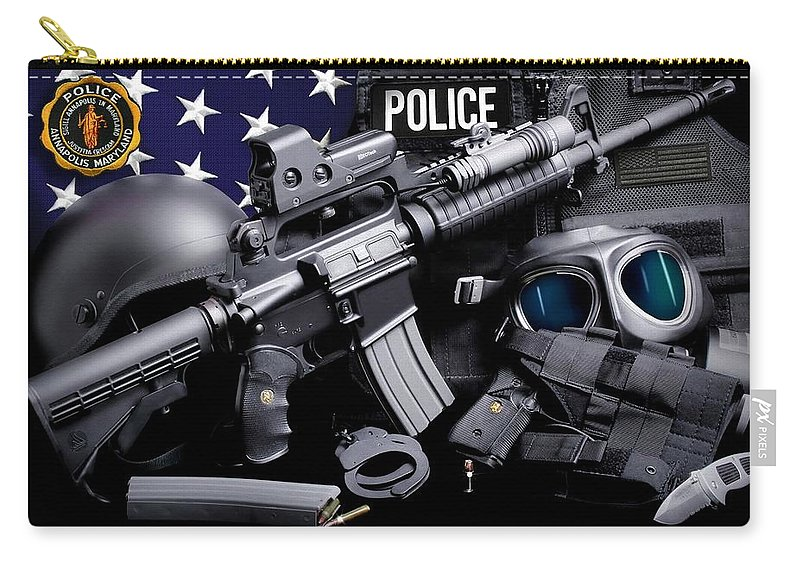 Annapolis Police Carry-all Pouch featuring the photograph Annapolis Police by Gary Yost