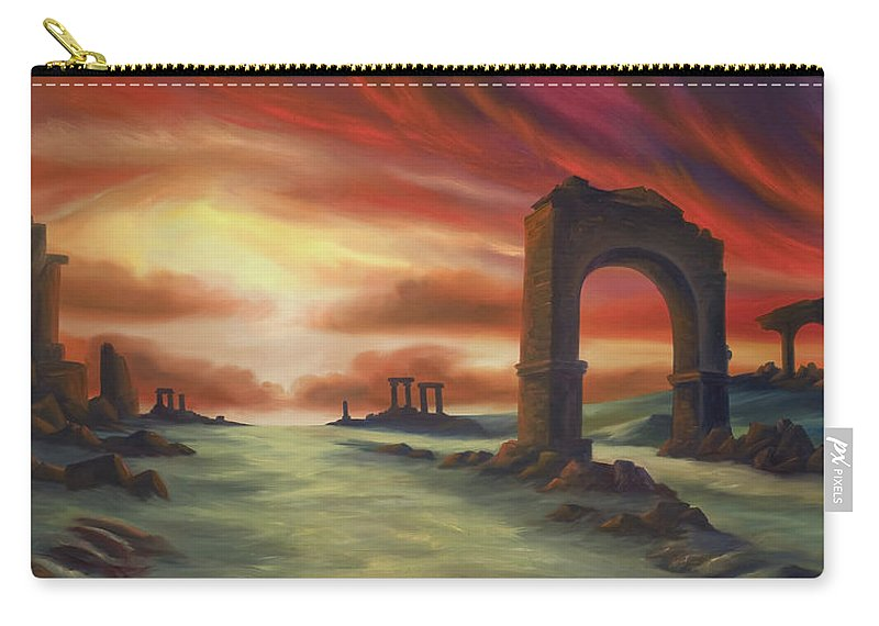 Sunset Carry-all Pouch featuring the painting Another Fallen Empire by James Christopher Hill