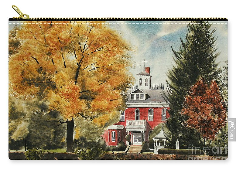 Antebellum Autumn Ironton Missouri Carry-all Pouch featuring the painting Antebellum Autumn Ironton Missouri by Kip DeVore