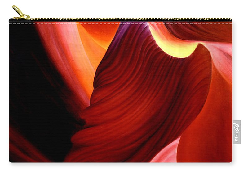 Antelope Canyon Carry-all Pouch featuring the painting Antelope Magic by Anni Adkins