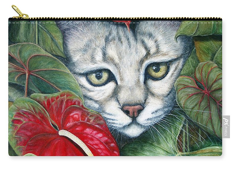 Cat Carry-all Pouch featuring the painting Anthurium Assassins by Joey Nash