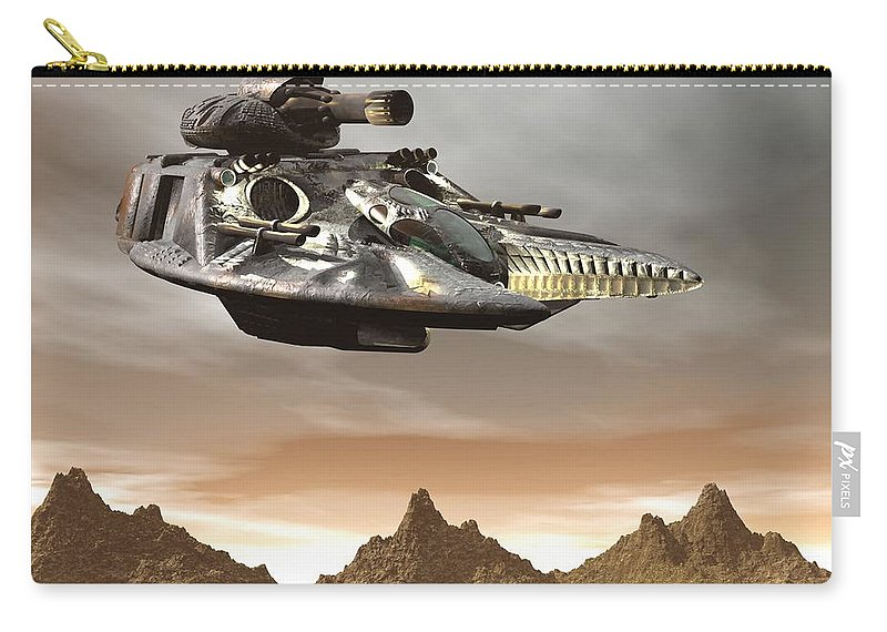 Digital Art Carry-all Pouch featuring the digital art Anti Gravity Tank by Michael Wimer