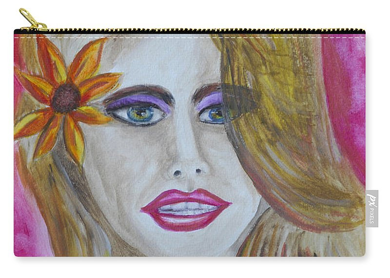 Portrait Carry-all Pouch featuring the painting Anticipation by Donna Blackhall