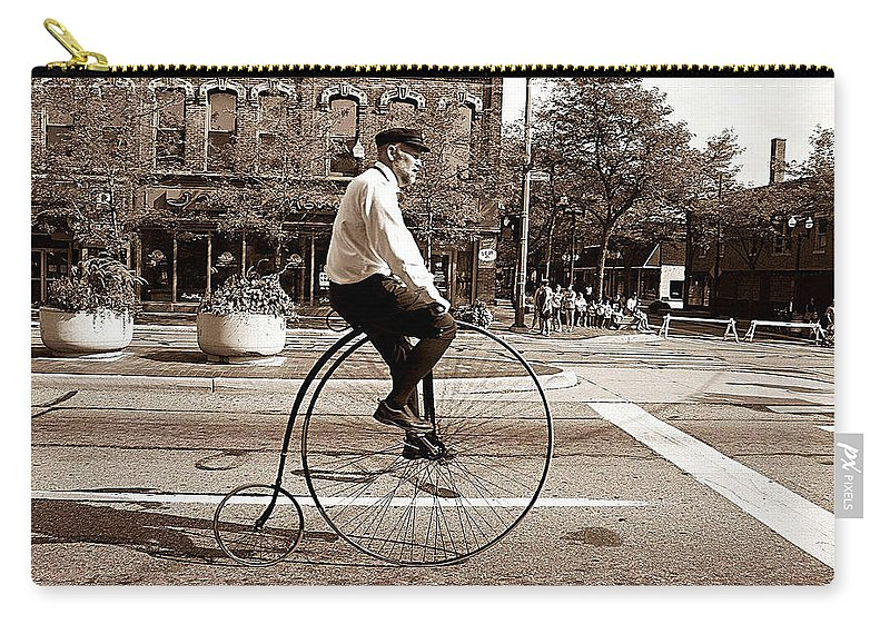 Antique Bicycle Carry-all Pouch featuring the digital art Antique Bicycle by Marvin Blaine