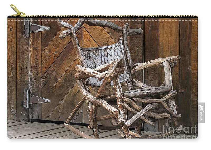 Georgetown Texas Hand Made Rocking Chair Chairs Wood Door Wooden Doors Metal Hinge Hinges Rocker Rockers Still Life Texture Textures Carry-all Pouch featuring the photograph Antique by Bob Phillips