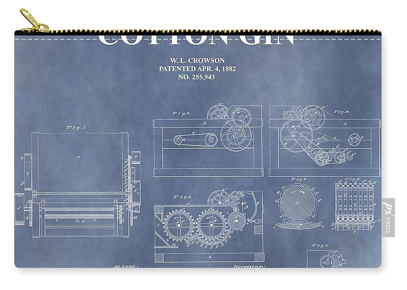1882 Cotton Gin Patent Carry-all Pouch featuring the mixed media Antique Cotton Gin Patent by Dan Sproul