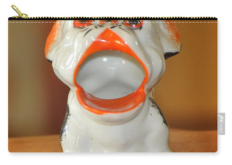 Antique Carry-all Pouch featuring the photograph Antique Dog Ashtray by Jay Milo