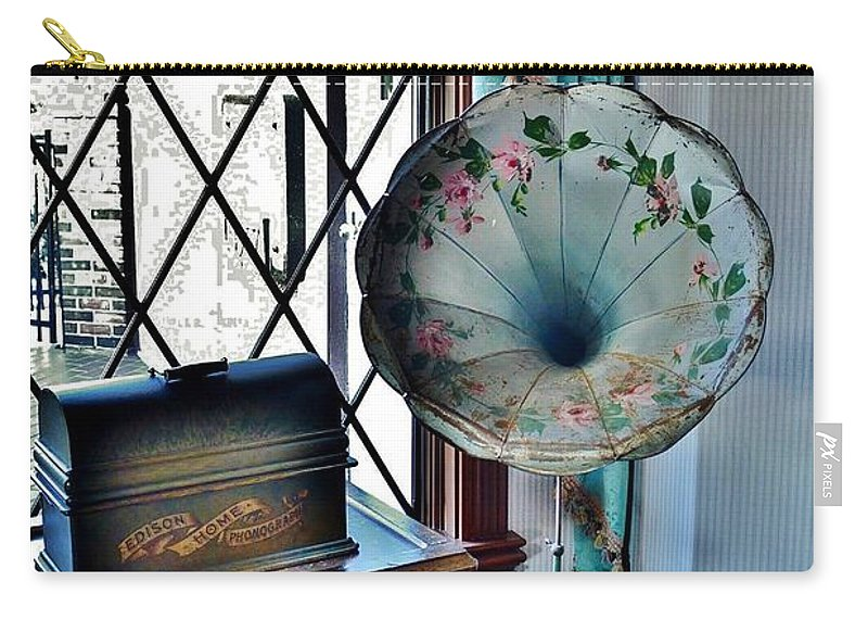 Antique Carry-all Pouch featuring the photograph Antique Edison Phonograph In The Boardwalk Plaza Lobby - Rehoboth Beach Delaware by Kim Bemis