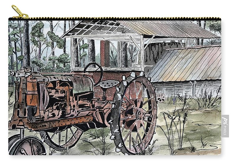 Tractor Carry-all Pouch featuring the painting Antique Farm Tractor  by Derek Mccrea