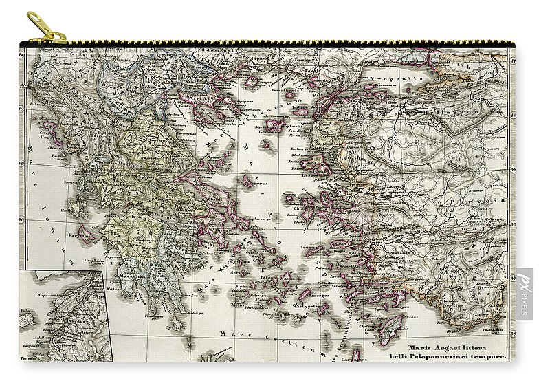 Ancient History Carry-all Pouch featuring the digital art Antique Map Of Ancient Greece by Duncan1890